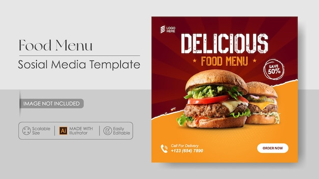 Burger food social media promotion and instagram design template