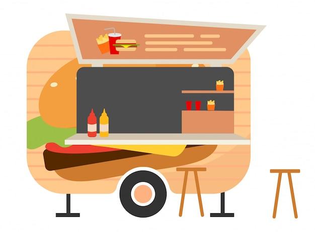 Burger food truck flat vector illustration.