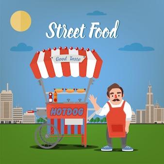 Концепция уличной еды с burger food truck и продавцом в мегаполисе
