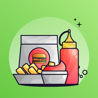Burger and french fries with tomato sauce gradient illustration