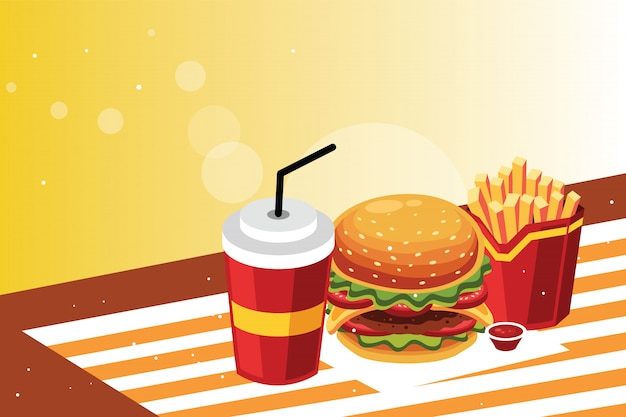 Burger and fries with cold drink