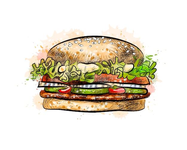 水彩のスプラッシュからハンバーガー、手描きのスケッチ。塗料のベクトルイラスト