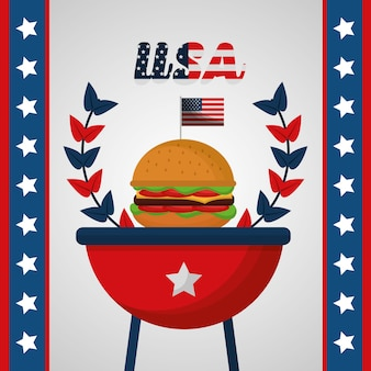 Burger on grill celebration american independence day