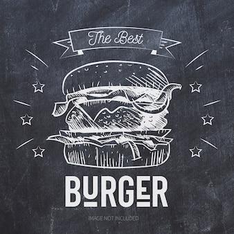 黒い黒板にハンバーガーグリルイラスト