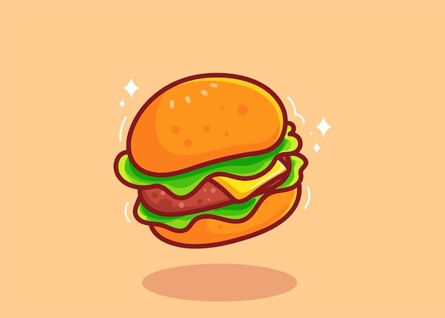 ハンバーガー手描き漫画アートイラスト