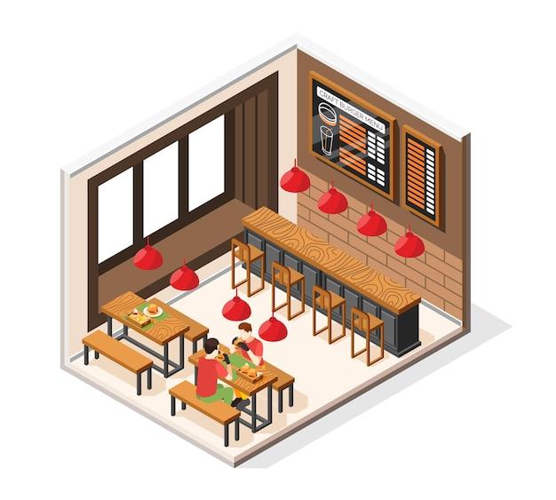 좌석 테이블과 먹는 사람들이 있는 패스트푸드 레스토랑의 전망을 갖춘 버거 하우스 아이소메트릭 구성