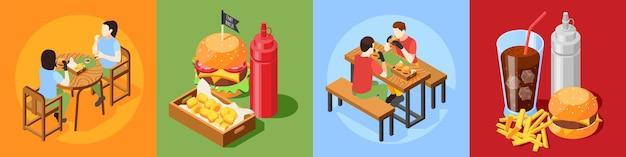 訪問者のキャラクターとファーストフードの食事の構成の4x1セットとハンバーガーハウスアイソメトリックデザインコンセプト