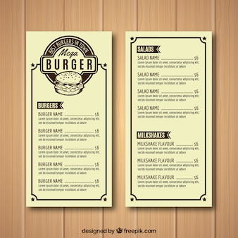 Burger house menu template