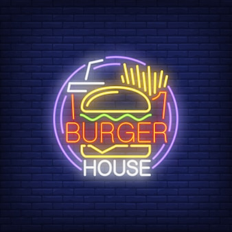 Burger house neon sign. Hamburger, fries, drink takeaway and round frame