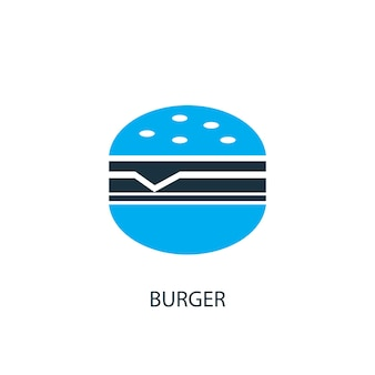 ハンバーガーアイコン。ロゴ要素のイラスト。 2色コレクションのハンバーガーシンボルデザイン。シンプルなバーガーコンセプト。 webおよびモバイルで使用できます。