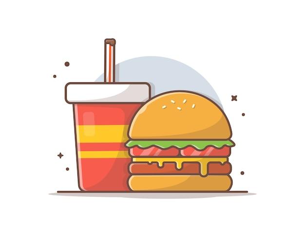Значок бургер с содой и льдом Premium векторы