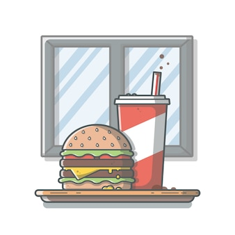 Burger icon with soda and ice. hamburger fast food logo. cafe and restaurant menu. isolated white background