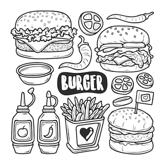 Burger icons hand drawn doodle coloring
