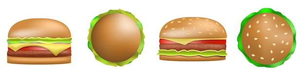 Burger icons set, realistic style