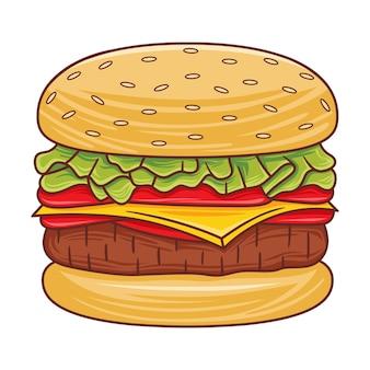 Иллюстрация бургера в современном стиле плоского дизайна