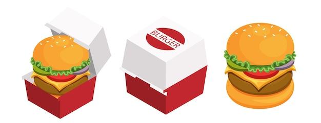 閉じた紙箱と開いた紙箱のパッケージのハンバーガー