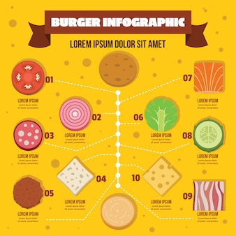 Burger infographic, flat style