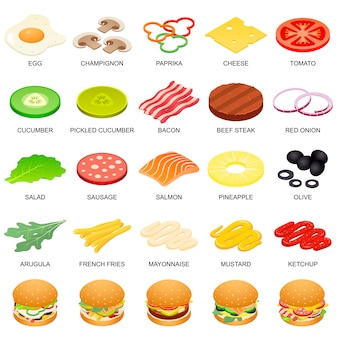 Burger ingredient icons set