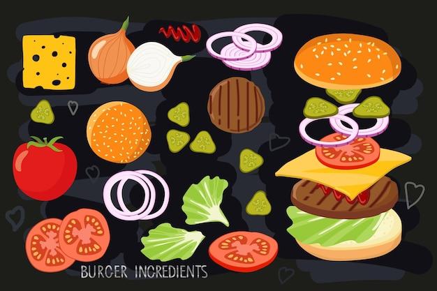 黒チョークボードで分離されたハンバーガー材料セットハンバーガー作成製品キット