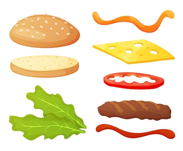 Коллекция поделок ингредиенты для бургеров. набор отдельных ингредиентов для создания собственного бургера и сэндвича. нарезанные овощи, соусы, булочка и котлета для бургера. производитель бургеров