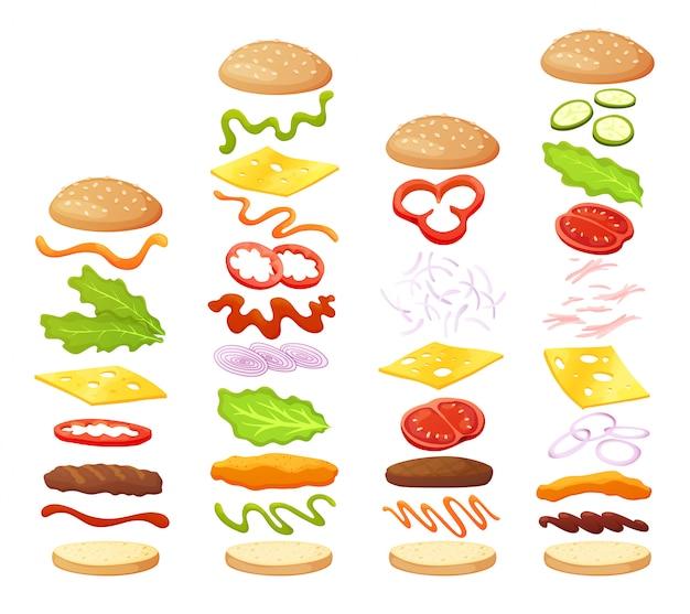 ハンバーガーの食材のdiyコレクション。独自のハンバーガーとサンドイッチを作るための分離された食材のセット。ハンバーガー用のスライス野菜、ソース、パン、カツ。ハンバーガーメーカー
