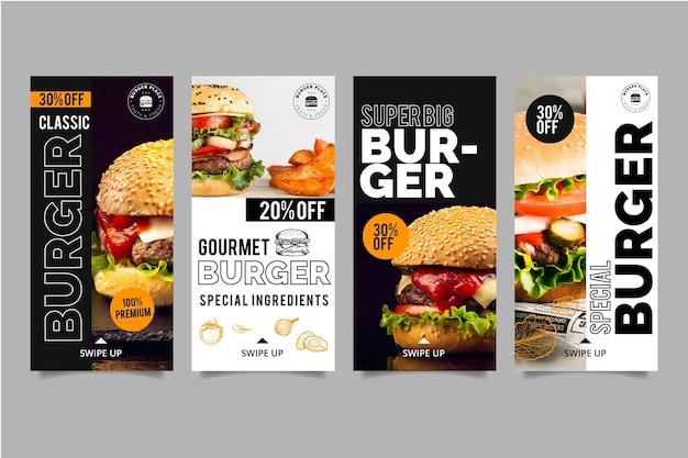 Collezione di storie di instagram burger