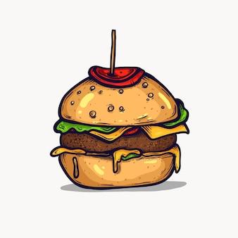 ハンバーガー分離手描きイラスト。ファーストフードのクリップアート要素