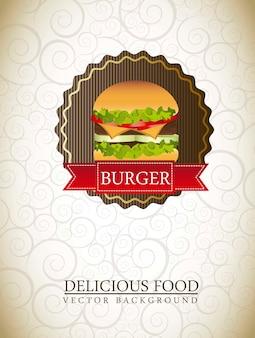 Burger label over ornament background vector illustration