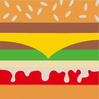 ハンバーガーレイヤー背景ソーシャルメディア投稿食品ベクトルイラスト