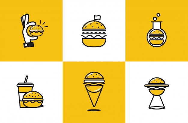 Burger line art icon set