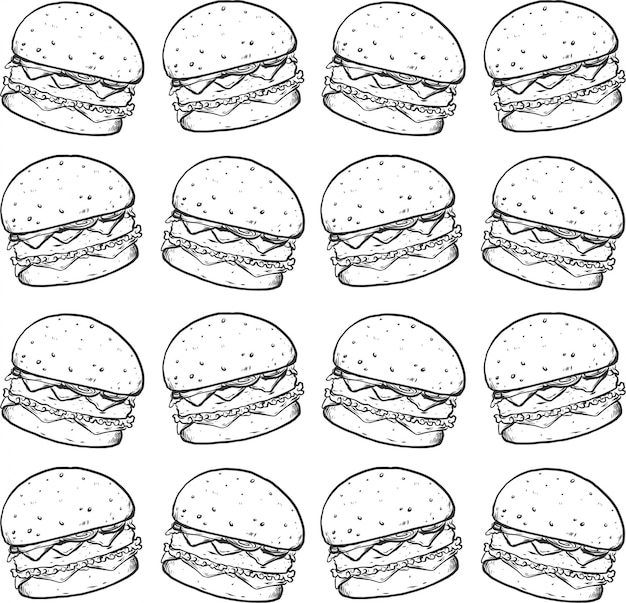 Burger line hand draw black white seamless pattern texture