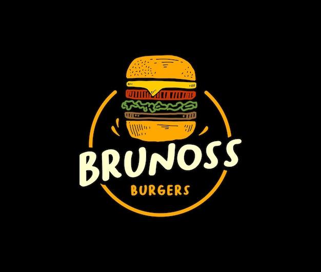 Концепция логотипа бургера для ресторана быстрого питания в винтажном стиле