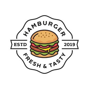 ファーストフードのモダンな店のレトロなバッジのイラストのハンバーガーのロゴのデザイン