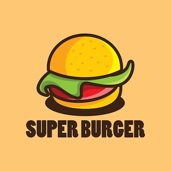 ハンバーガーの漫画イラストのハンバーガーのロゴデザインテンプレート
