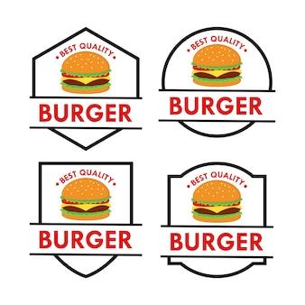 버거 로고 디자인 벡터 세트