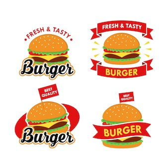 Burger logo design vector set