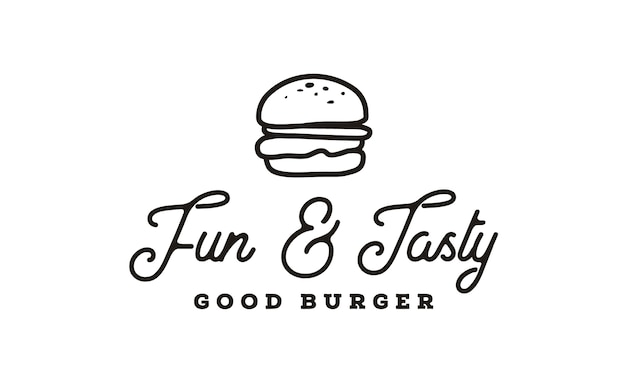 Burger logo design with hipster line art drawing style Premium Vector