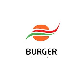Бургер логотип символ быстрого питания Premium векторы