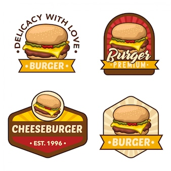 Burger logo stock vector set