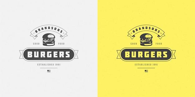 レストランのメニューやカフェのバッジに適したハンバーガーのロゴのベクトル図ハンバーガーのシルエット