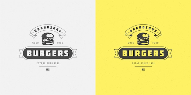 Burger logo vector illustration hamburger silhouette good for restaurant menu and cafe badge