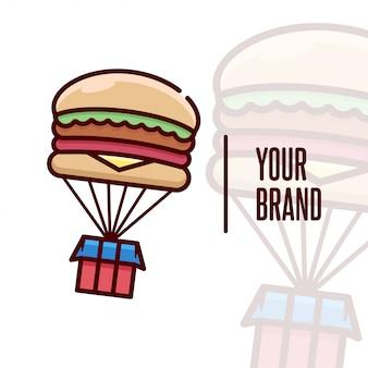Логотип бургера с воздушной коробкой для кулинарного бизнеса