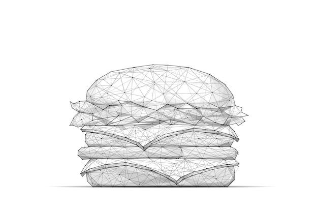Бургер низкополигональная каркасная изолированная черная на белом фоне абстрактная линия месива и точечное оригами