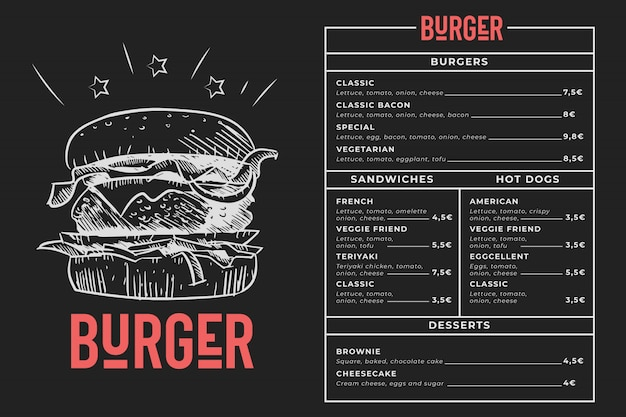 Burger menu blackboard