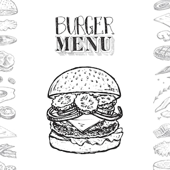 Burger menu cover design with hand drawn text, sketches of hamburger and its ingredients.