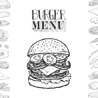 ハンバーガーメニューカバーデザイン、手描きのテキスト、ハンバーガーとその成分のスケッチ。