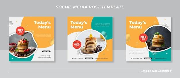 버거 메뉴 프로모션 소셜 미디어 인스 타 그램 배너 템플릿 세트