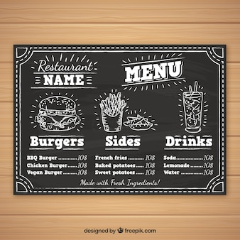 Burger menu template in chalk style