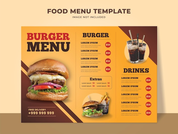 Burger menu template for fast food restaurant