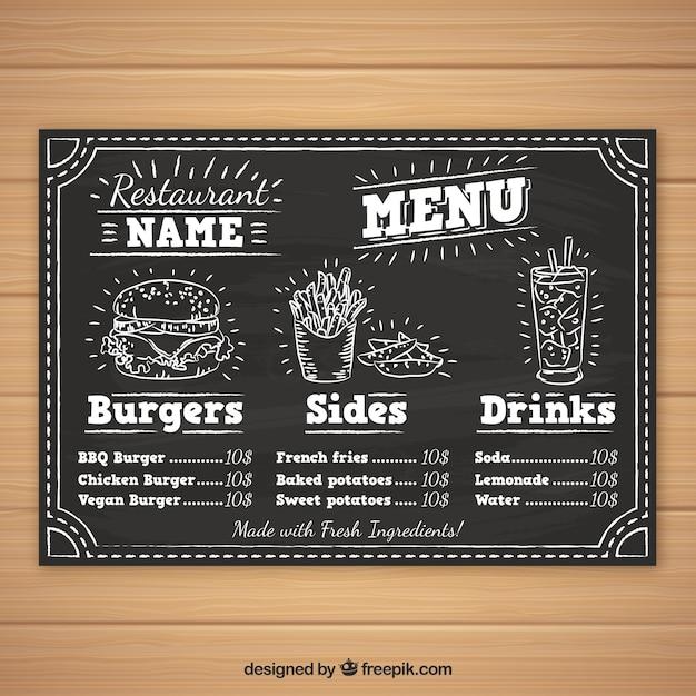 Burger Menu Template In Chalk Style